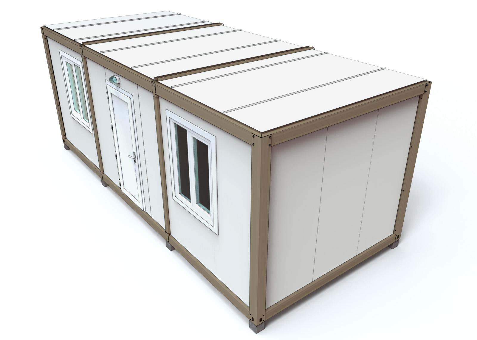 B timent industriel temporaire monobloc d montable karmod for Batiment container