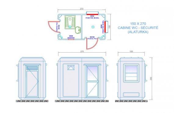 cabine securité & wc 150x270