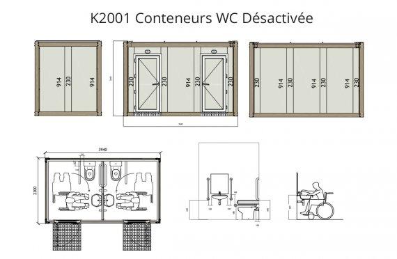K 2001 Conteneur WC pour Handicapés