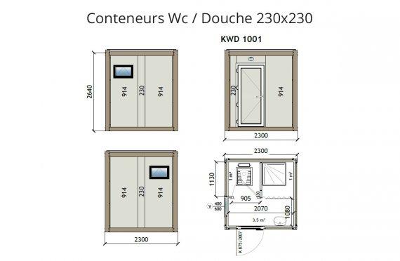 KW2 230X230 Conteneur Wc / Douche