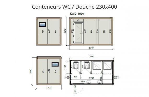 KW2 230X400 Wc/Douche conteneur