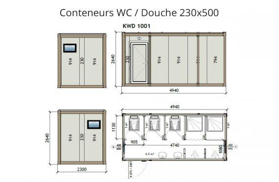 KW2 230X500 Wc/Douche conteneur