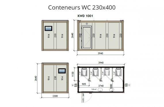 KW4 230X400 Conteneur WC