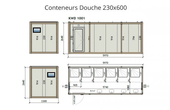 kw6 230x600 conteneur douche. Black Bedroom Furniture Sets. Home Design Ideas