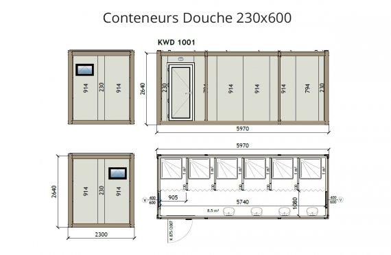 KW6 230X600 Conteneur Douche