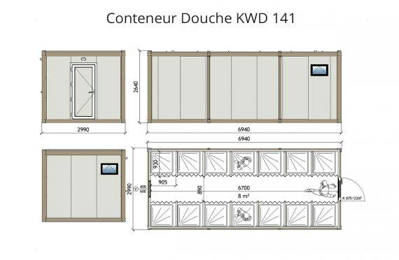 KWD 141 Conteneur Douche