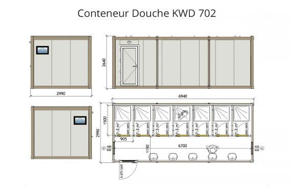 KWD 702 Conteneur Douche