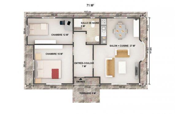 plan de Maison Préfabriquée 71 m²