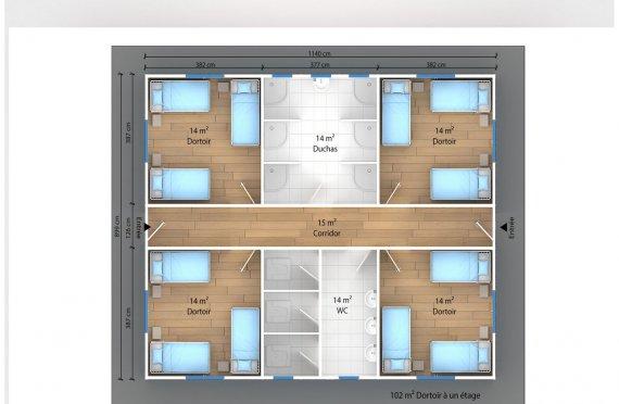 plan dortoir préfabriqué 102 m2