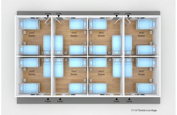 plan dortoir préfabriqué 117 m2