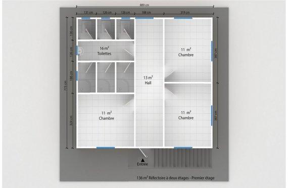 plan dortoir préfabriqué 136 m2