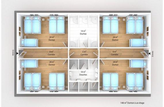 plan dortoir préfabriqué 148 m2
