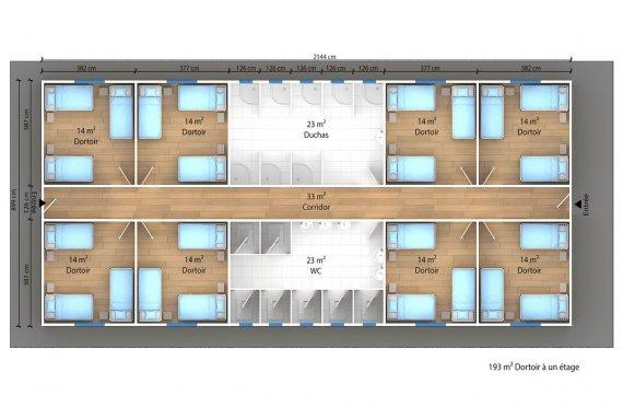 plan dortoir préfabriqué 193 m2