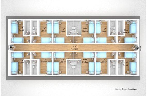 plan dortoir préfabriqué 204 m2