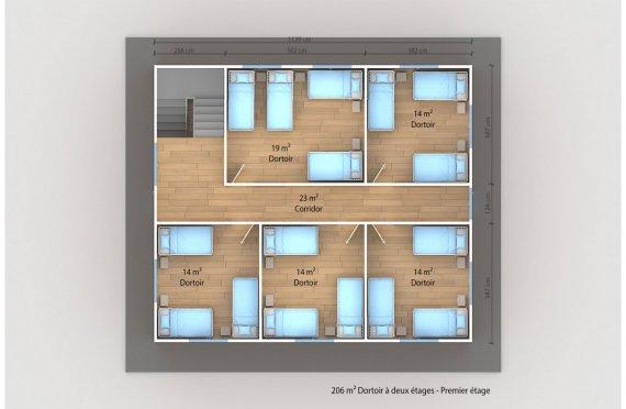 plan dortoir préfabriqué 206 m2