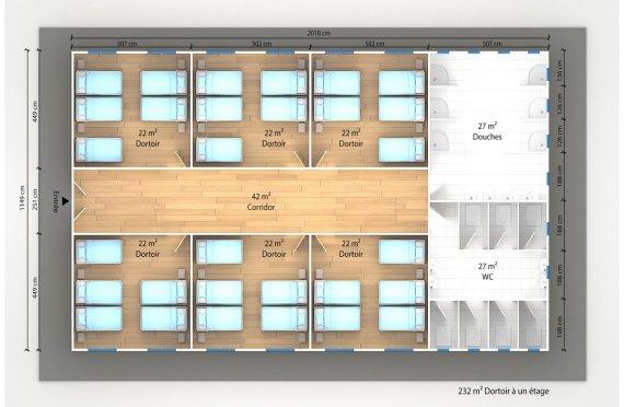 plan dortoir préfabriqué 232 m2