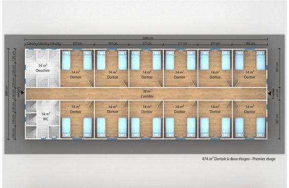 plan dortoir préfabriqué 474 m²