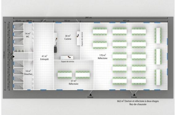 plan dortoir préfabriqué 662 m²