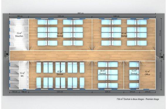 plan dortoir préfabriqué 736 m²