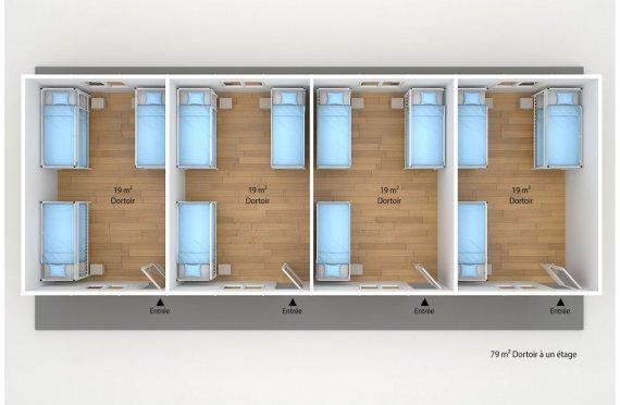 plan dortoir préfabriqué 79 m2