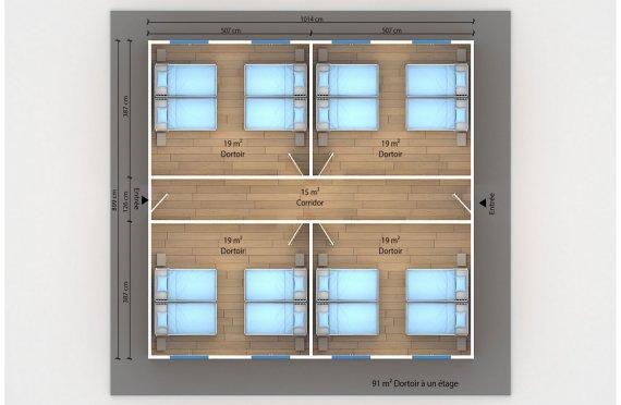 plan dortoir préfabriqué 91 m2