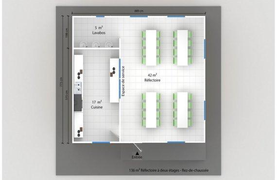 plan réfectoire préfabriqué 136 m2