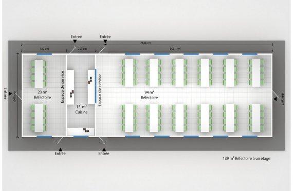 plan réfectoire préfabriqué 139 m2