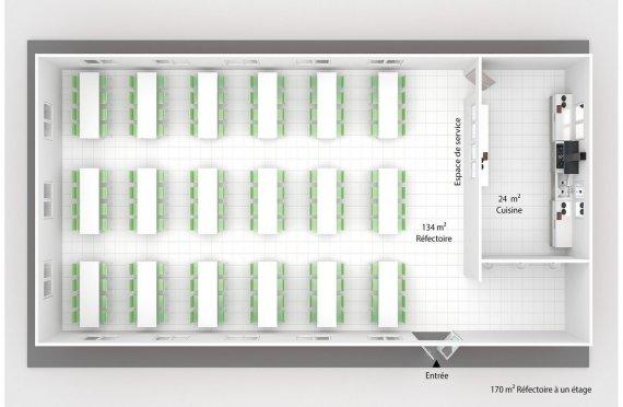 plan réfectoire préfabriqué 170 m2