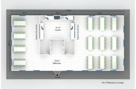 plan réfectoire préfabriqué 181 m2