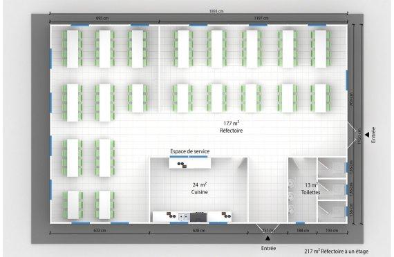 plan réfectoire préfabriqué 217 m2