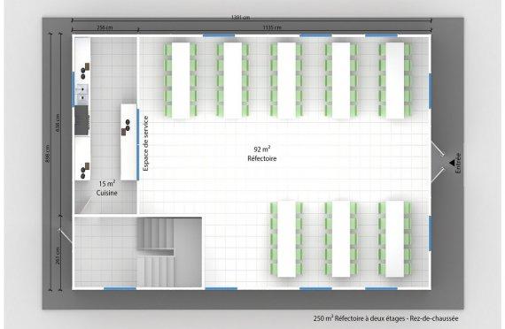 plan réfectoire préfabriqué 250 m2