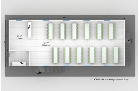plan réfectoire préfabriqué 332 m2