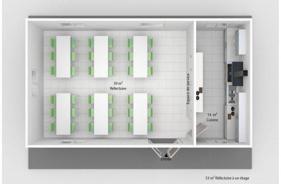 plan réfectoire préfabriqué 53 m2