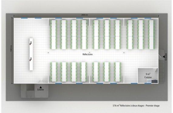plan réfectoire préfabriqué 576 m2