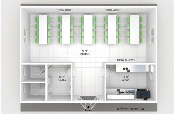 plan réfectoire préfabriqué 65 m2