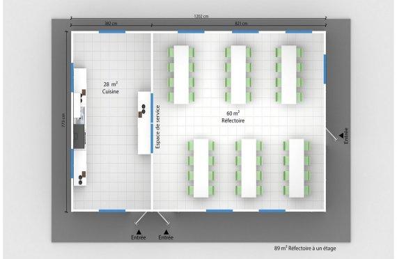 plan réfectoire préfabriqué 89 m2