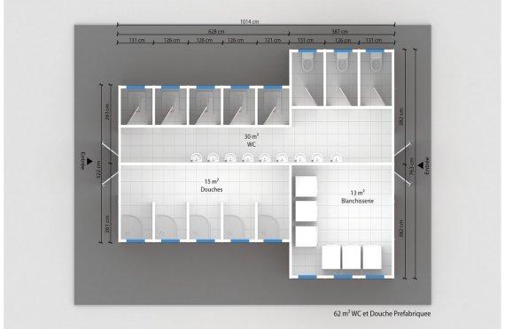 plan wc préfabriqué 62 m²