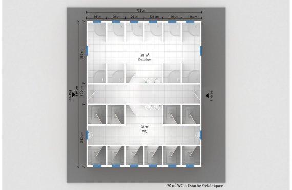 plan wc préfabriqué 70 m²