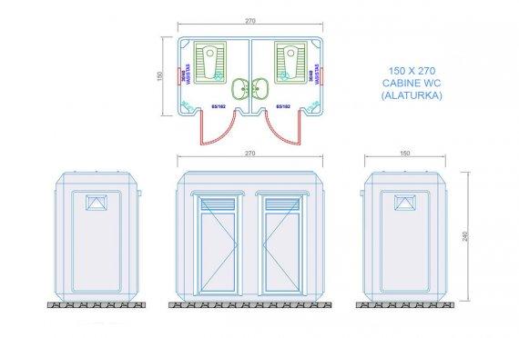 wc douche cabine 150x270