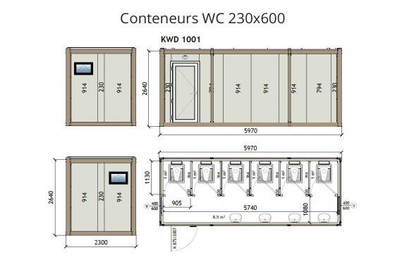wc douche conteneur 230X600