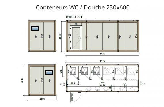 wc douche conteneur kw6 230X600