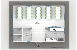 plan réfectoire préfabriqué 45 m2