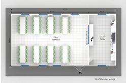 plan réfectoire préfabriqué 98 m2