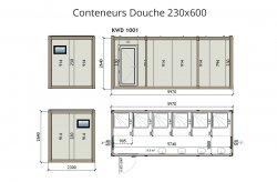 plan wc douche conteneur