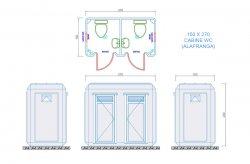 toilette douche cabine plan