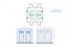 toilette douche cabine plans